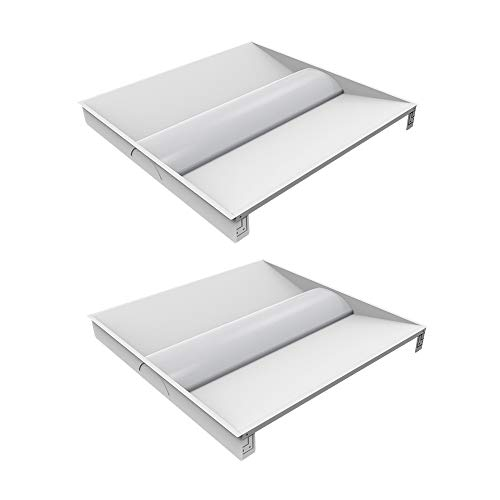 2 Pack 2x2 FT LED Troffer Light Fixture,30W Metal Volumetric Troffer Lights,4000K Cool White,0-10V Dimmable Recessed Panel,Fluorescent Replacement, Commercial Drop Ceiling Light for Office, School