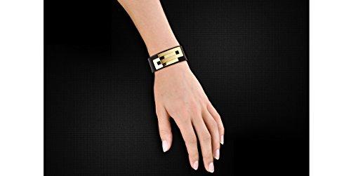 Ursul Bracelet femme Embrace, cuir de vachette et metal plaqué or 18 carats, noir