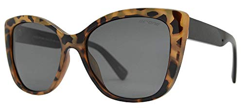 Be One Women Cat Eye Sunglasses in Leopard Frame with Smoke Lens (Trendige Sunnies)