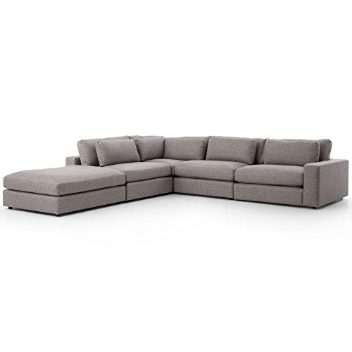 Cornerstone Modern Classic Grey Fabric Sectional Sofa – 131×131