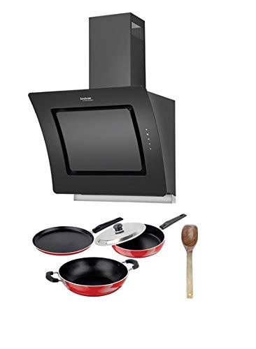 Hindware Valencia 60 Cm Wall Mounted Chimney For Kitchen, Auto Clean Black Hood 1100 M3/Hr 2d Suction Technology & Free Non-Stick Kitchen Set, 5-Pieces.