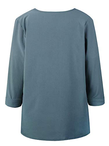 Elegante Autunno Tops Scollo Casuale T E Maniche Camicetta Camicia V Donna Chiffon Con Asimmetrico Shallgood Bottoni Blusa Shirt Blu Solido Primavera A Lunghe Chiusura wWCqIF6B