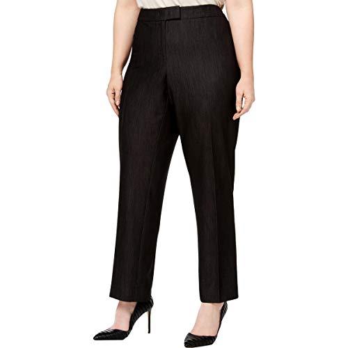Anne Klein Womens Gathered High Rise Dress Pants Black 22W
