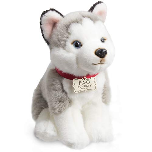 FAO Schwarz Siberian Husky Puppy Dog Toy Plush 10 Inches, Ultra Soft and Snuggly Doll for Creative and Imagination Play, for Boys, Girls, Children Ages 3 and Up, Playroom & Nursery Pretend Pet Wolf