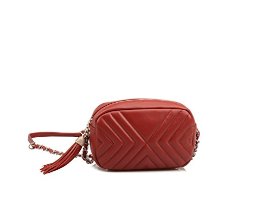 Wallet Wallet Ainifeel Purse Leather Claret Genuine Red Small Quilted Women's Crossbody RwqXwA8