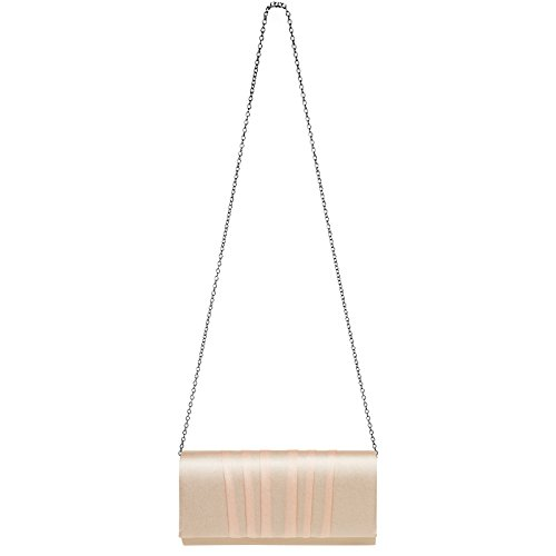 Satin TA390 Elegant Gathered Clutch Gold Bag with Design Rose CASPAR Evening Ladies Vertical fSgtdOfwq
