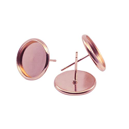 - Laliva Accessories - 50pcs 8 10 12 14 16 20 mm Flat Earring Setting Stainless Iron Blank Earring Base Cabochon Cameo Base DIY Jewelry Making Findings - (Color: Rose Gold, Size: 8mm x 50pcs)