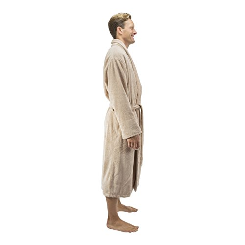 Comfy Robes Personalized Men's 16 oz. Turkish Terry Cotton Bathrobe, L/XL (OSFM) Tall Beige by Comfy Robes (Image #5)