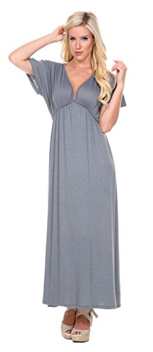 Stanzino Women's V neck Short Sleeve Elastic Waist Maxi Dress – Small, HeatherGray