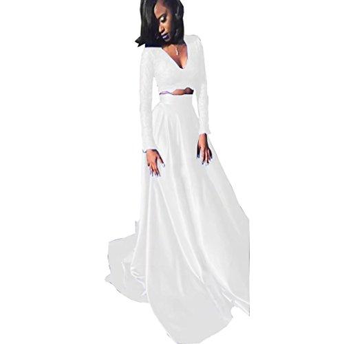 Diigi Robes Royales Arabes De Bal En Dentelle Deux Pièce Longue Sexy 2018 Une Robes De Soirée Remise Des Diplômes À Long Satin Ligne De Cou V Blanc