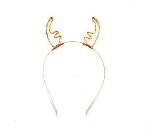 Amazon Com Cute Gold Wire Antlers Metal Reindeer Headband Golden