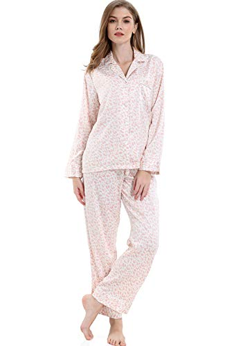 Serenedelicacy Women's Silky Satin Pajamas, Button Up Long Sleeve PJ Set Sleepwear Loungewear (X-Small / 0-2, Leopard Blush) ()