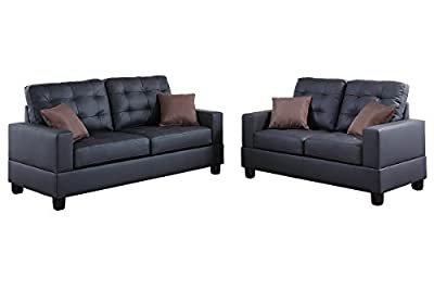 Poundex F7855 Bobkona Aria Faux Leather 2 Piece Sofa and Loveseat Set, Black