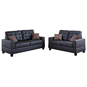 Poundex F7855 Bobkona Aria Faux Leather 2 Piece Sofa and Loveseat Set
