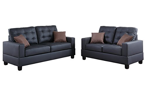(Poundex F7855 Bobkona Aria Faux Leather 2 Piece Sofa and Loveseat Set, Black)