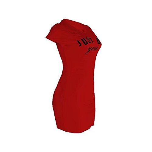 Bettergirl Tm Femmes Court Sexy Manches Déchiré Trou Cassé T-shirt Haut Rouge Robe Moulante