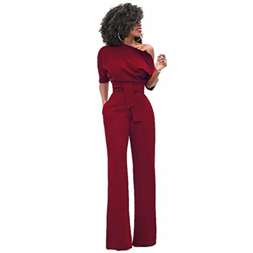 Leg Unitard - Hot Sale!Womens Sexy One Shoulder Solid Jumpsuits Wide Leg Long Romper Pants With Belt,Elegant Bodycon Long Loose Playsuit (Wine Red, S)