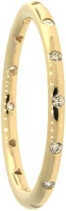 Pandora Droplets Stackable Ring, Polished 14K Gold & CZ 150178CZ-56