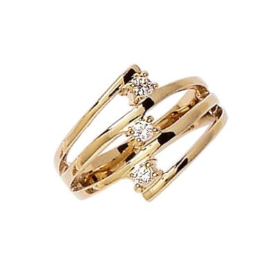 So Chic Jewels - Ladies 18K Gold Plated 14 mm Wide Clear Cubic Zirconia cut out Band Ring