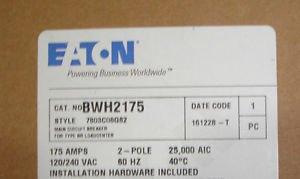 - Challenger Westinghouse Cutler Hammer BWH2175 175 Amp Main Circuit Breaker
