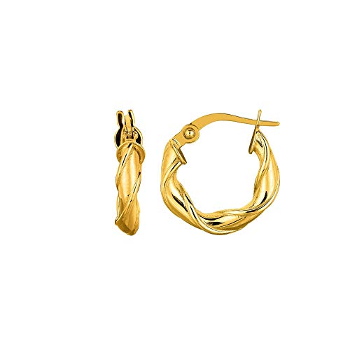 - 14K Yellow Gold 10mm Round Type Twisted Hoop Earrings with Hinged