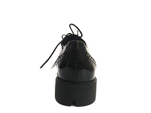 Lunatic Lucida Allacciata The B234 Inglese Donna FLEXX 03 Stile Scarpa Nero Pelle qF4P1q