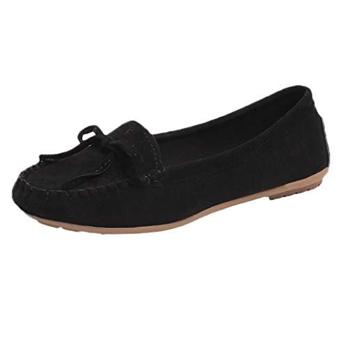 (iPOGP Leisure Women Round Toe Suede Slip-On Shoes Flat Single Shoes Peas Boat Shoes Rubber Sole Hiking Sandal Fashion(Black,42))