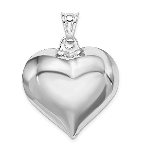 Heart Plated Puffed (FB Jewels Solid 925 Sterling Silver Rhodium-Plated Puffed Heart Pendant)