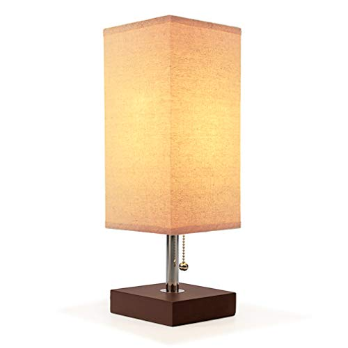 Bedside Table Lamp, Aooshine Modern Desk Lamp, Solid Wood Nightstand Lamp with Unique Shade and Havana Brown Wooden Base, Ambient Light and Useful Pull Chain Perfect for Bedroom or Living Room