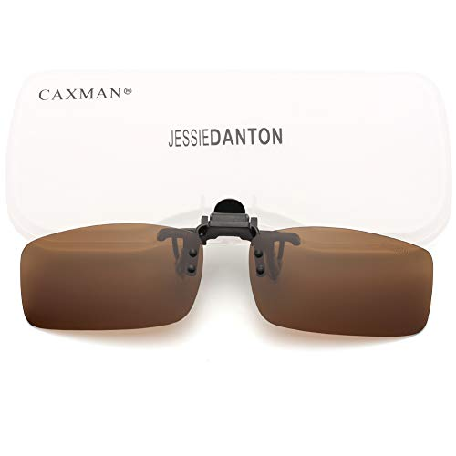 CAXMAN Polarized Clip On Sunglasses Over Prescription Glasses for Men Women UV Protection Flip Up Brown Lens Extra Small