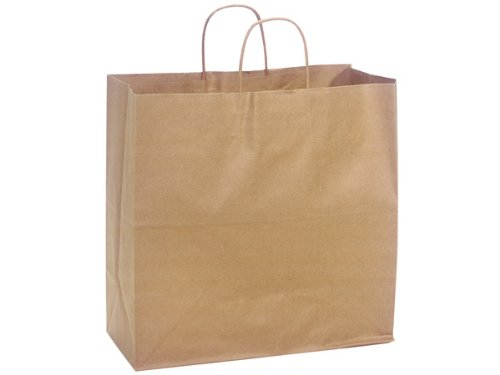 Pack Of 250, Filly 13 X 7 X 13'' 100% Recycled Brown Kraft Paper Bags Solid Made In USA by Generic