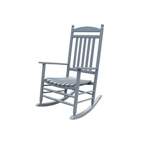 Rocking Rocker-A040GY Grey Porch Rocker/Rocking Chair -Easy to Assemble-Comfortable Size-Outdoor or Indoor Use