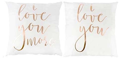 Juvale Love Letters Throw Pillow Cover - 2-Set Decorative Printed Pillowcases for Couples, Home Decor Cushion Covers, Rose Gold Text Print in White, 17 x 17 Inches