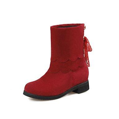 Ch & Tou Femmes-bottines-décontractées-confortable-carré-peluche-noir Marron Rouge Beige, Rouge, Us10.5 / Eu42 / Uk8.5 / Cn43