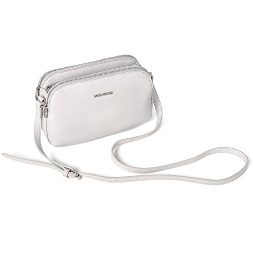 Pockets Purse Wallet Travel Zipper Multi Crossbody David Fashion Basic Jones Faux Black Women's Bag Shoulder White Medium Leather Saddle Handbag Messenger Ladies qYBF8