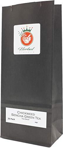Chickweed and Sencha Green Tea Herbal Tea Bags (25 pack - unbleached)