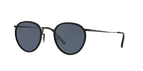 Oliver Peoples Vintage Sunglasses MP-2 100% Authentic (Matte Black Lens Dark Blue Lens, 48 - Sunglasses Mp2