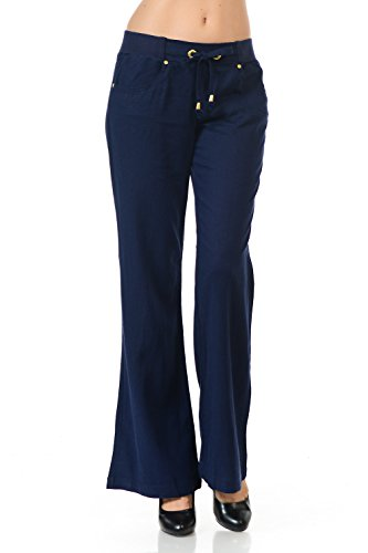 Linen Rib Band Gold Trim Long Pants Cest Toi (Large, Navy)