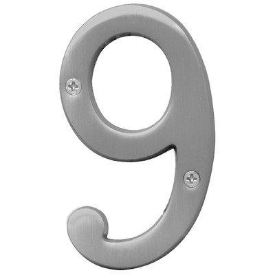 "Hy-Ko BR-43SN/9 4"" Satin Nickel #9 House Number from Hy-ko"