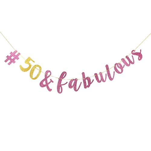 INNORU 50 & Fabulous Banner , Pink and Gold 50th Birthday Party Decorations , Adult Party Supplies Photo Props -