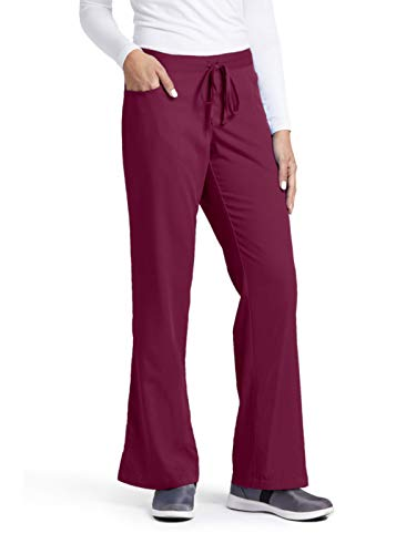 Grey's Anatomy Women's Junior-Fit Five-Pocket Drawstring Scrub Pant - X-Small Petite - Wine