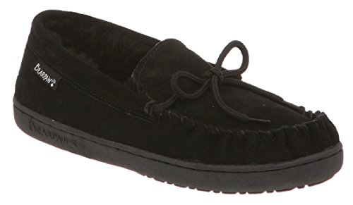 BEARPAW Women's Mindy Moccasin Slipper (8 B(M) US, Black Suede) (Sheepskin Womens Moccasins)