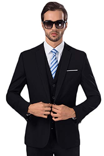 (MAGE MALE Mens Solid 3-Piece Suit Slim Fit Notch Lapel One Button Tuxedo Blazer Jacket Pants Vest Set )