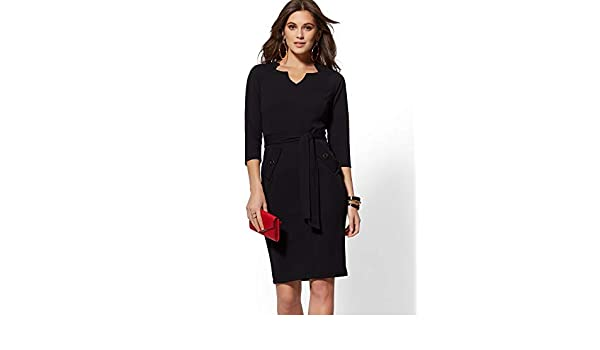 0a5cfe87a5 New York   Co. Split-Neck Scuba Crepe Sheath Dress - Xsmall Black at Amazon  Women s Clothing store