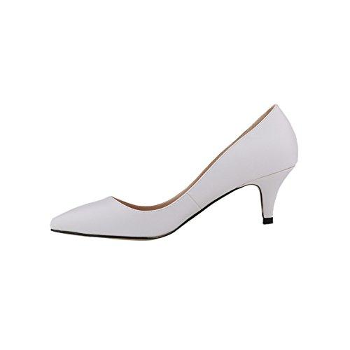 fereshte Women's Closed Toe Low Heels Matt Leather Comfort Dress Shoes White