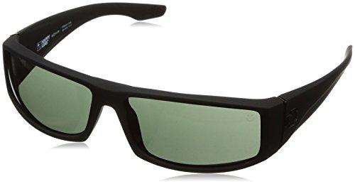 Spy Optic Cooper Wrap Sunglasses, Soft Matte Black/Happy Gray/Green, 56 - Aviator Sunglasses Spy