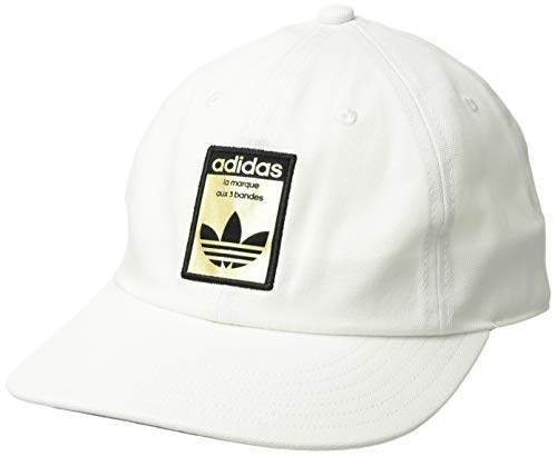 (adidas Men's Originals Relaxed Base Strapback Cap, white/black/gold, One Size)