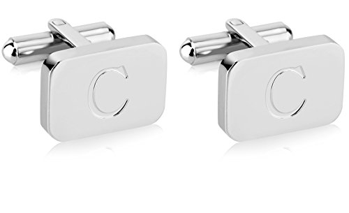 White Gold Cufflinks - White-Gold Plated Monogram Initial Engraved Stainless Steel Man's Cufflinks With Gift Box -Personalized Alphabet Letter's By Lux & Pier (C- White Gold)