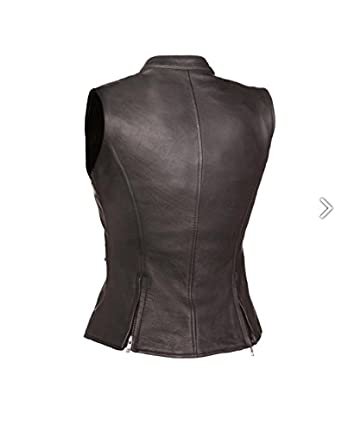 Ladies The Fairmont Naked Leather Motorcycle Vest Full Length Zip Front