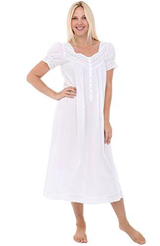 Alexander Del Rossa Womens Elizabeth Cotton Nightgown, Short Sleeved Lace Cuff Victorian Sleepwear, Medium White - Poplin Pajama Cotton